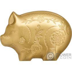 JOLLY PIG Cerdo Lunar Year Dorado 1 Oz Moneda Plata 1000 Togrog Mongolia 2019