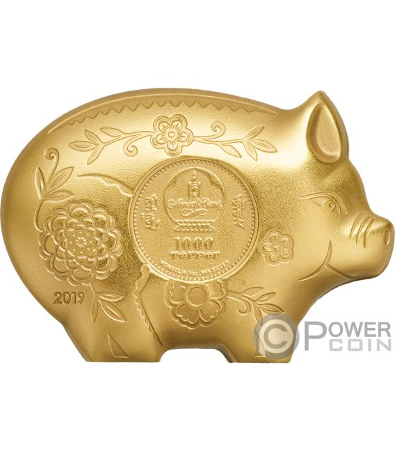 JOLLY PIG Lunar Year Gilded 1 Oz Silver Coin 1000 Togrog Mongolia 2019