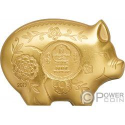 JOLLY PIG Maiale Lunar Year Dorato 1 Oz Moneta Argento 1000 Togrog Mongolia 2019