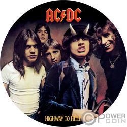 HIGHWAY TO HELL ACDC 1/2 Oz Moneta Banconota Argento 2$ Cook Islands 2018