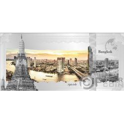 BANGKOK Skyline Dollars Foil Banconota Argento 1$ Cook Islands 2019