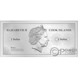 BANGKOK Skyline Dollars Foil Billete Plata 1$ Cook Islands 2019