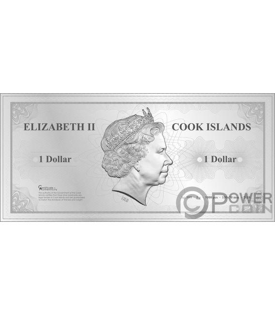 PYONGYANG Skyline Dollars Foil Silver Note 1$ Cook Islands 2018