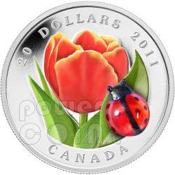 TULIPANO COCCINELLA Vetro Murano Moneta Argento 20$ Canada 2011