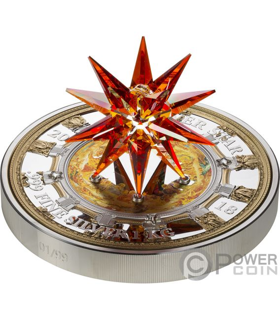 ST ISAACS CATHEDRAL Moravian Star Crystal Giant 1 Kg Kilo Silver Coin 100$ Cook Islands 2018