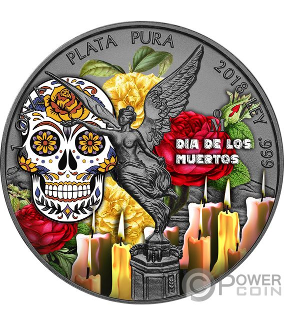 DIA DE LOS MUERTOS Day Dead Libertad Yellow Rose 1 Oz Silver Coin Mexico 2018