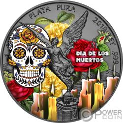 DIA DE LOS MUERTOS Libertad Yellow Rose 1 Oz Moneda Plata Mexico 2018