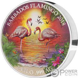 FLAMINGO 1 Kg Kilo Silver Coin 25$ Barbados 2018