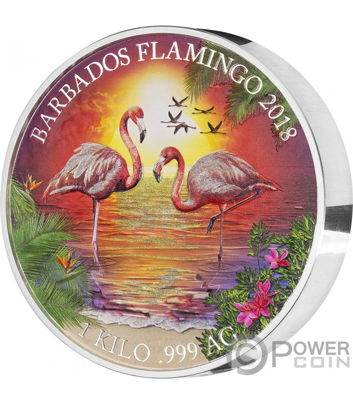 Flamingo 1 Kg Kilo Silver Coin 25 Barbados 2018 Power Coin