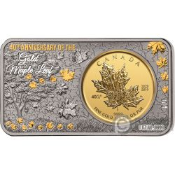 MAPLE LEAF Foglia Acero 40 Anniversario 1 Oz Argento 1/4 Oz Moneta Oro Set Canada 2019
