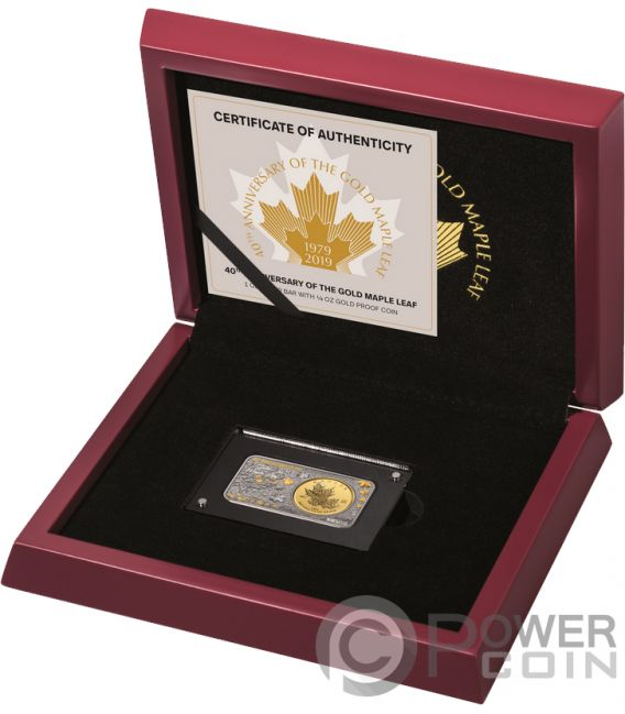 MAPLE LEAF 40th Anniversary 1 Oz Silver 1/4 Oz Gold Coin Set Canada 2019