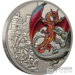 RED DRAGON Drago Dragons 2 Oz Moneta Argento 5$ Niue 2019