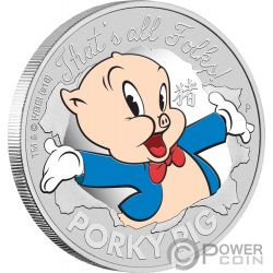 PORKY PIG Maiale Lunar Looney Tunes 1 Oz Moneta Argento 1$ Tuvalu 2019