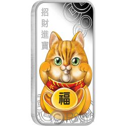 LUCKY CAT Gato Suerte Maneki Neko 1 Oz Moneda Plata 1$ Tuvalu 2019