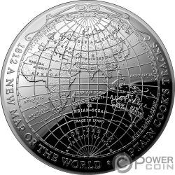 1812 A NEW MAP OF THE WORLD Mappa Mondo Terrestrial Dome 1 Oz Moneta Argento 5$ Australia 2019