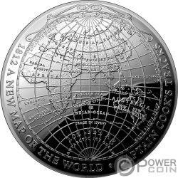 1812 A NEW MAP OF THE WORLD Weltkarte Terrestrial Dome 1 Oz Silber Münze 5$ Australia 2019