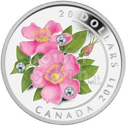 WILD ROSE Rosa Canina Moneta Argento Swarovski 20$ Canada 2011