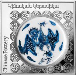 CHINESE POT Ceramica Pottery of the World 1 Oz Moneta Argento 1000 Dram Armenia 2018