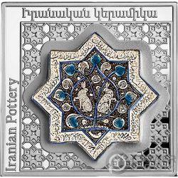 IRANIANSTAR POT Ceramica Pottery of the World 1 Oz Moneta Argento 1000 Dram Armenia 2018