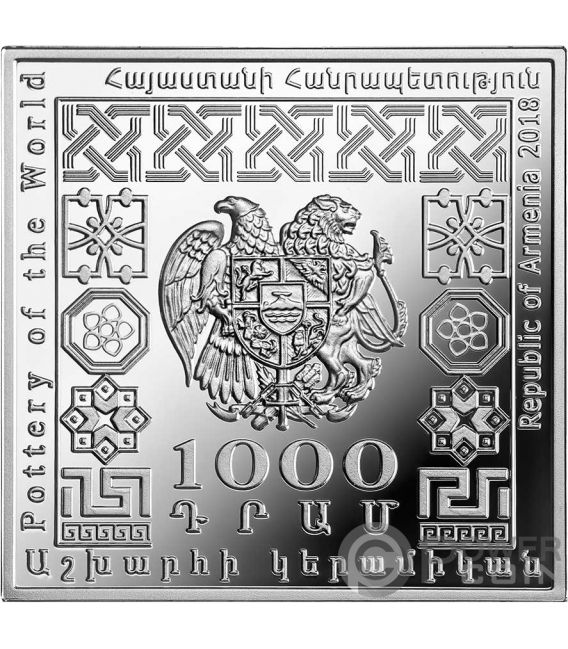 IRANIANSTAR POT Pottery of the World 1 Oz Silver Coin 1000 Dram Armenia 2018