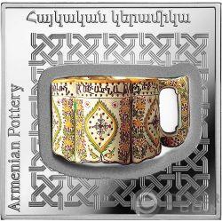 ARMENIAN POT Ceramica Pottery of the World 1 Oz Moneta Argento 1000 Dram Armenia 2018