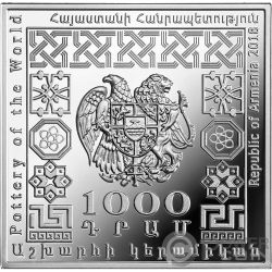 ARMENIAN POT Ceramica Pottery of the World 1 Oz Moneta Argento 1000 Dram Armenia 2018
