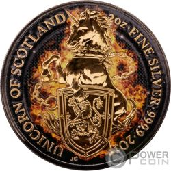 BURNING UNICORN Unicornio Queen Beasts 2 Oz Moneda Plata 5£ United Kingdom 2018