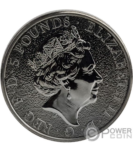 BURNING UNICORN Queen Beasts 2 Oz Silver Coin 5£ United Kingdom 2018