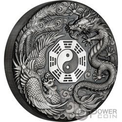 DRAGON AND PHOENIX 2 Oz Silver Coin 2$ Tuvalu 2019
