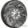 DRAGON AND PHOENIX Fenix 2 Oz Moneda Plata 2$ Tuvalu 2019