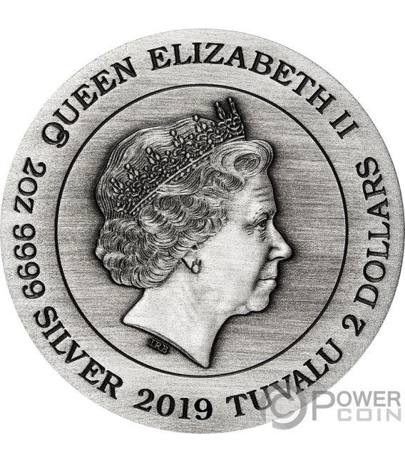 DRAGON AND PHOENIX 2 Oz Silver Coin 2$ Tuvalu 2019