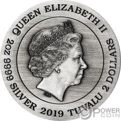 DRAGON AND PHOENIX Drachen Phönix 2 Oz Silber Münze 2$ Tuvalu 2019
