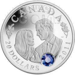 MATRIMONIO REALE William Kate Moneta Argento Swarovski 20$ Canada 2011