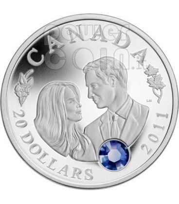 ROYAL WEDDING William Kate Silver Coin Swarovski 20$ Canada 2011