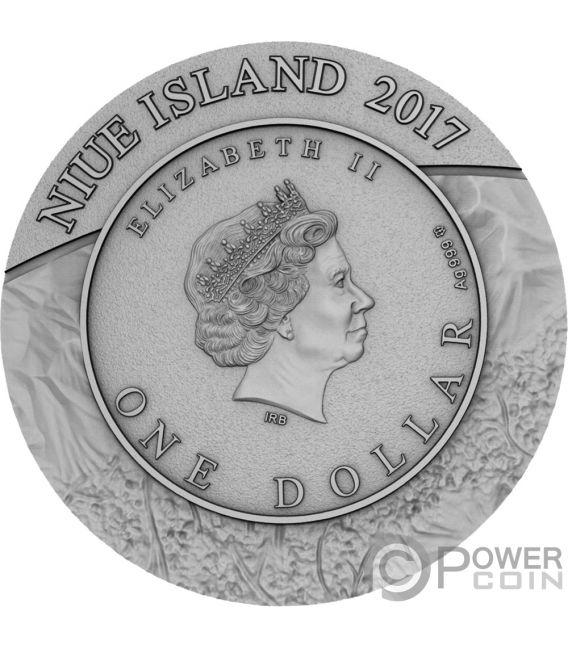 GOSSES BLUFF Meteorite Crater 1 Oz Silver Coin 1$ Niue 2017