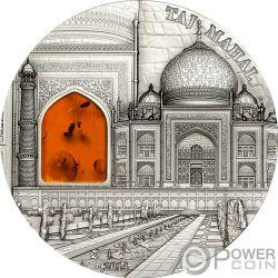 TAJ MAHAL Amber Mineral Art 2 Oz Silver Coin 10$ Palau 2014