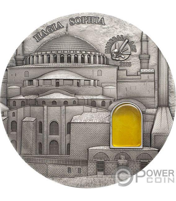 HAGIA SOPHIA Bernstein Mineral Art 2 Oz Silber Münze 10$ Palau 2016