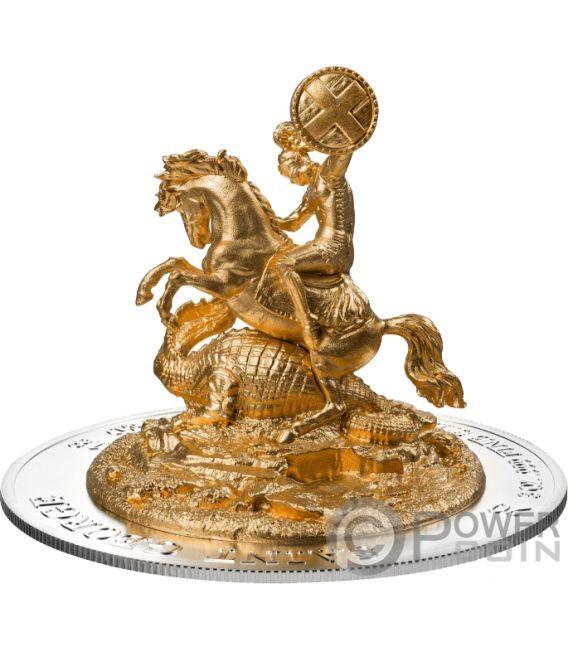 ST GEORGE Full Dimensional 3D 3 Oz Silver Coin 1000 Francs Rwanda 2018