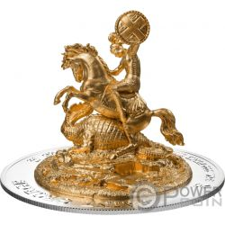 ST GEORGE Jorge Full Dimensional 3D 3 Oz Moneda Plata 1000 Francos Ruanda 2018