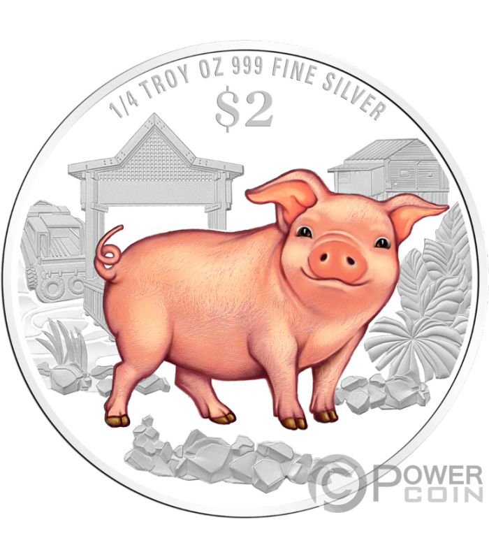 Year Of The Pig Schwein Coloured Chinese Almanac Silber Münze 2