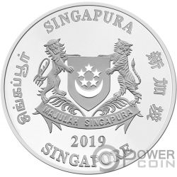 YEAR OF THE PIG Schwein Coloured Chinese Almanac Silber Münze 2$ Singapore 2019