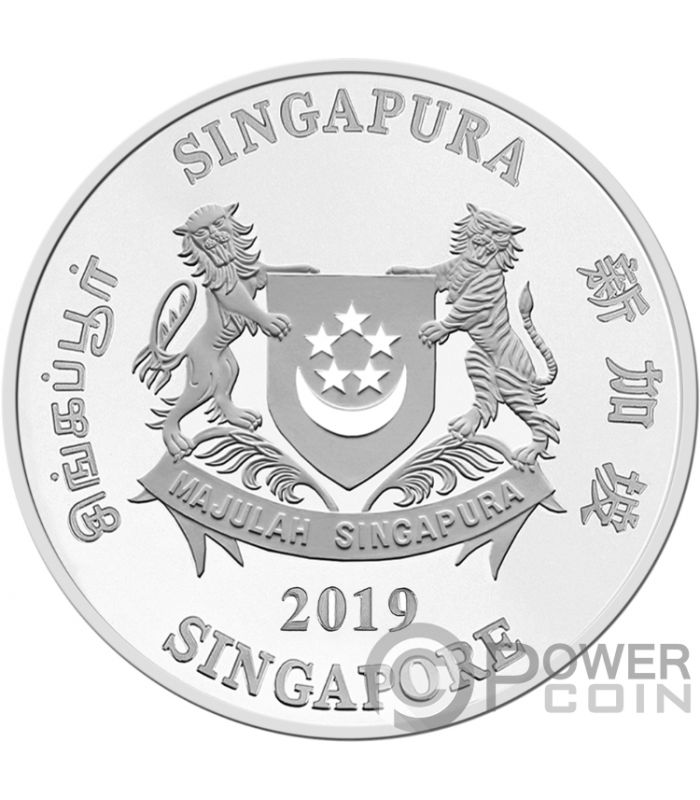 YEAR OF THE PIG Coloured Chinese Almanac Silver Coin 2