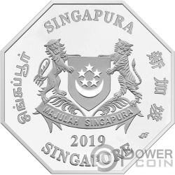 YEAR OF THE PIG Schwein Chinese Almanac 1 Oz Silber Münze 5$ Singapore 2019