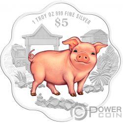 YEAR OF THE PIG Schwein Geformt Chinese Almanac 1 Oz Silber Münze 5$ Singapore 2019
