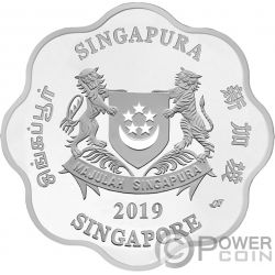 YEAR OF THE PIG Anno Maiale Forma Chinese Almanac 1 Oz Moneta Argento 5$ Singapore 2019