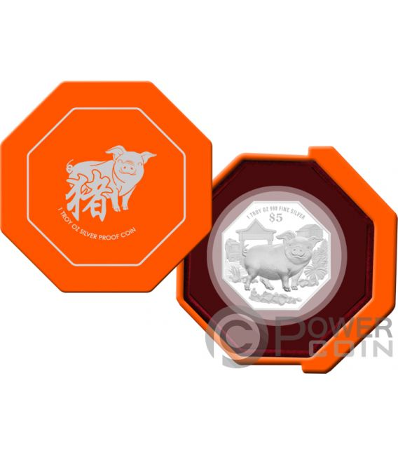 YEAR OF THE PIG Shaped Chinese Almanac 1 Oz Silver Coin 5$ Singapore 2019