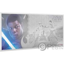 FINN Star Wars Force Awakens Foil Серебро Note 1$ Ниуэ 2019