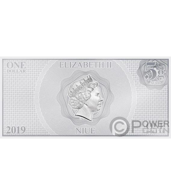 FINN Star Wars Force Awakens Foil Silver Note 1$ Niue 2019