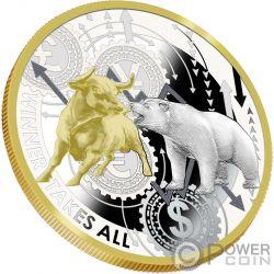WINNER TAKES ALL NYSE 1 Oz Серебро Монета 1000 Франков Камерун 2019