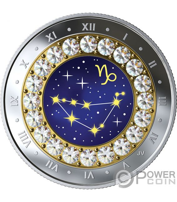 CAPRICORN Zodiac Swarovski Crystal Silver Coin 5$ Canada 2019
